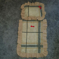 Handmade Dolls cot / pram quilted cotton quilt and pillow  Beige  quilt hea rt