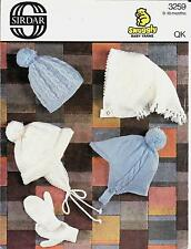 Vintage Baby Hat and Gloves Knitting Pattern, 9-18 months, QK/DK, Sirdar 3259