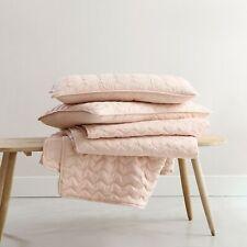 Blush Pre-Washed Microfiber 3pcs Quilt Set, Wave Embroidered Coverlet Bedspread