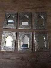 Small Handmade Moroccan Mosque Door Nickel Silver Handbag Mirror