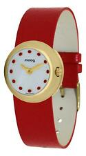 Moog Paris Zoom Women's Watch with White Dial, Red Genuine Leather Strap