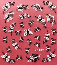 Nail Art 3D Decal Stickers Butterfly Butterflies Black & White XF187