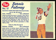 1962 POST FOOTBALL CFL 57 BERNIE FALONEY NM HAMILTON TIGER CATS UNIV OF MARYLAND