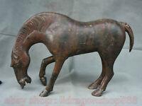 "15.2 ""Bronze Chinois Ware Dynastie Zodiaque Année Animal Cheval Succès Statue"