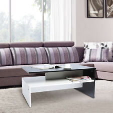 Coffee Table Living Room Furniture Modern Design With Shelf White & Black