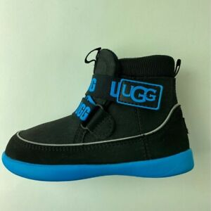 UGG Unisex Kids Tabor Chukka Boots Black Adjustable Hook & Loop Spell Out 9 New
