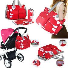 Nappy Diaper Bags Waterproof Changing Bag Mum Handbag Reusable Red Multi Ways