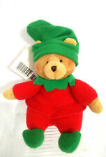Hallmark Santa's Little Friend Elf Bear #25 Green Red Plush Elf Bear