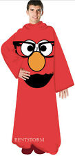 Sesame Street Comfy Throw Blanket Sleeves Snuggie Robe Red Nerd Elmo Glasses New