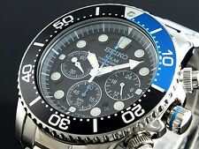 Seiko Solar Men's Chronograph Stainless Steel Divers 200M Watch SSC017 SSC017P1