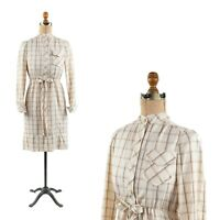 Vintage 70s Cream Soft Flannel Windowpane Plaid Puff Shoulders Preppy Dress