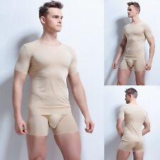 Seamless Men's Tank Top Ice silk Sleeveless Shirt or T-Shirt Vest Top Tee Gym
