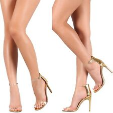 CELEBRITY STYLE Metallic mirror Clear Strap Stiletto High Heels Pumps Sandal H43