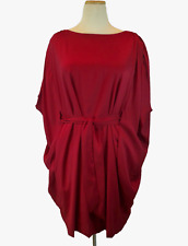 Chequer Wine Dolman Belted Dress
