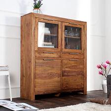 Massives Design Highboard PURE Sheesham Holz stone finish 120cm Sideboard