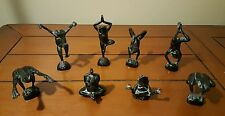 ONYX YOGA FROGS NEIL EYRE DESIGNS BLACK FULL SET OF 8 SIGNED MINT RARE