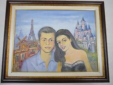 Vintage Collectible European Funny Painting A Couple In Love Framed Signed Filev