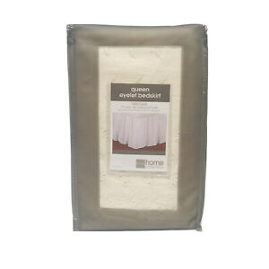 """Vintage Jcp Home Collection Queen Size Eyelet Bedskirt 60""""x80"""" Ivory 15"""" Drop"""