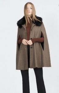 ZARA Ladies Houndstooth Cape Poncho Coat Removable Faux Fur Collar Size Large