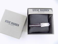 Steve Madden Two-Tone Stainless Steel Men's Brown/Gray Weaved Cord Bracelet C12