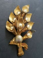 Vintage Copper brooch Lily's Faux Pearls Damage
