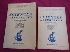 SCIENCES NATURELLES DU BACCALAUREAT  Texte - Planches - Henri ROUX - BORDAS 1949