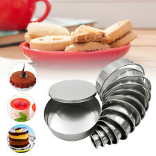 12pcs DIY Round Mousse Ring Cake Cookie Baking Cutters Molds Stainless Steel