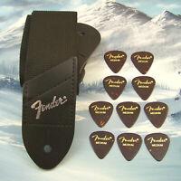 GUITAR STRAP ~ GENUINE FENDER ~ BLACK w/ SILVER LOGO + 10 CLASSIC MED 351 PICKS