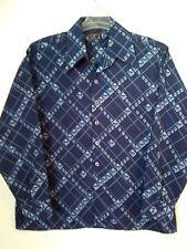 9ecb0d412 Poliéster Azul Vintage JC Penney para hombre manga larga camiseta de botón  frontal superior Talla XL