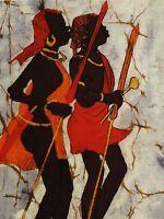 SAMMY signiert - Gemälde auf Stoff: ZWEI SCHWARZ-AFRIKANER MIT SPEER BEIM TANZ