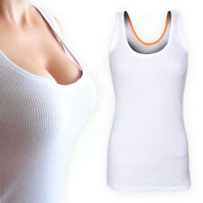 White Stretch Ribbed Ladies Girls VEST Cotton Strappy Womens Casual TOP T-SHIRT