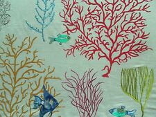 Sanderson Curtain Fabric CORAL & FISH 1.8m Tropical/Brights Embroidered Design