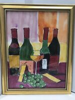 "Original Painting Fruit Cheese Wine Framed Signed 15""x12 Artwork Still Life"