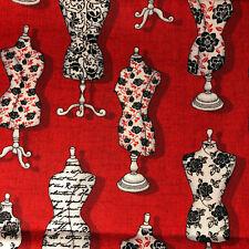 FAT QUARTER Dress Forms Red Black FABRIC QUILT 100% COTTON FQ