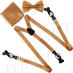 New Y back Men's Vesuvio Napoli Suspenders Bowtie Hankie Stripes Glitter Gold