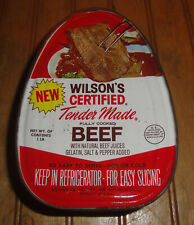 Vintage Wilson's advertising can tin Fully Cooked Beef 1lb SEALED w/KEY!