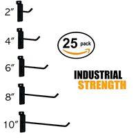 "Black Slatwall Hooks Combo Pk of 25 Assorted Sizes(5) of Ea 2"",4"",6"", 8"" & 10"""