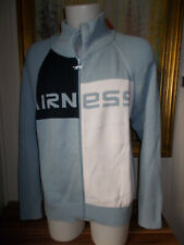 Pull zip gilet chaud acrylique/coton  bleu clair/blanc AIRNESS L  logo en grand
