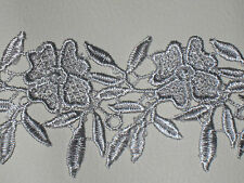 "2 yards in 2 1/4"" width silver color crochet poly cotton floral trim /applique"
