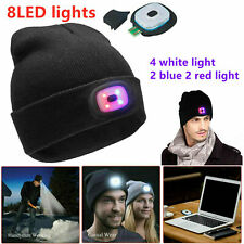 8-LED USB Rechargeable Light Lamp Beanie Hat Knit Cap Camping Jogging Men Women