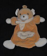 Peluche doudou ours beige NOUNOURS range pyjama echarpe crème 30 cm TTBE