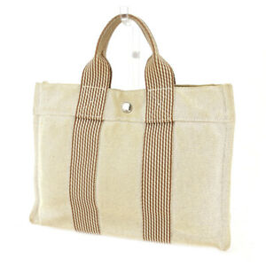 HERMES Tote Bag New fool toe beige 100% cotton Auth used T17831