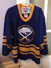 Vintage Buffalo Sabres Royal Blue Sewn CCM Hockey Jersey Youth Size Small