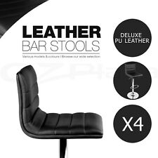 4x Leather Bar stool ENZO Swivel Barstool Kitchen Dining Chairs Black Gas Lift