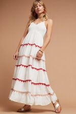 4c73aa23628b NWOT Anthropologie Lorenna Embroidered Maxi Red Trim Tiered Maxi Swing Dress  MP