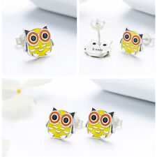 925 Sterling Silver Owl Earrings Charm CZ Enamel For Beauty Women Bracelet Chain