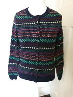 Talbots Lambs Wool Mix Sequin Embellishment Retro Print Cardigan Top Size M...