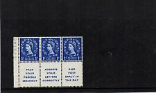 GB 1955 EDWARD WMK  BOOKLET PANE 1d WILDING Stamps x3+ Labels SG541a RE:X622