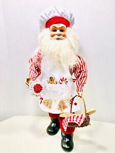 "Raz Imports Porcelain Baking Santa Claus With Red Basket & Black Forest Cake 20"""