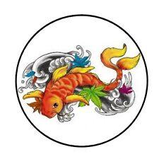 "48 KOI FISH ENVELOPE SEALS LABELS STICKERS 1.2"" ROUND"